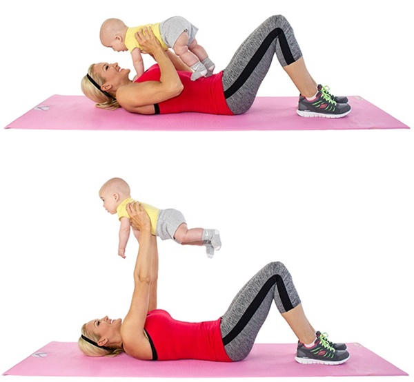 giảm cân sau sinh, bài tập cùng bé